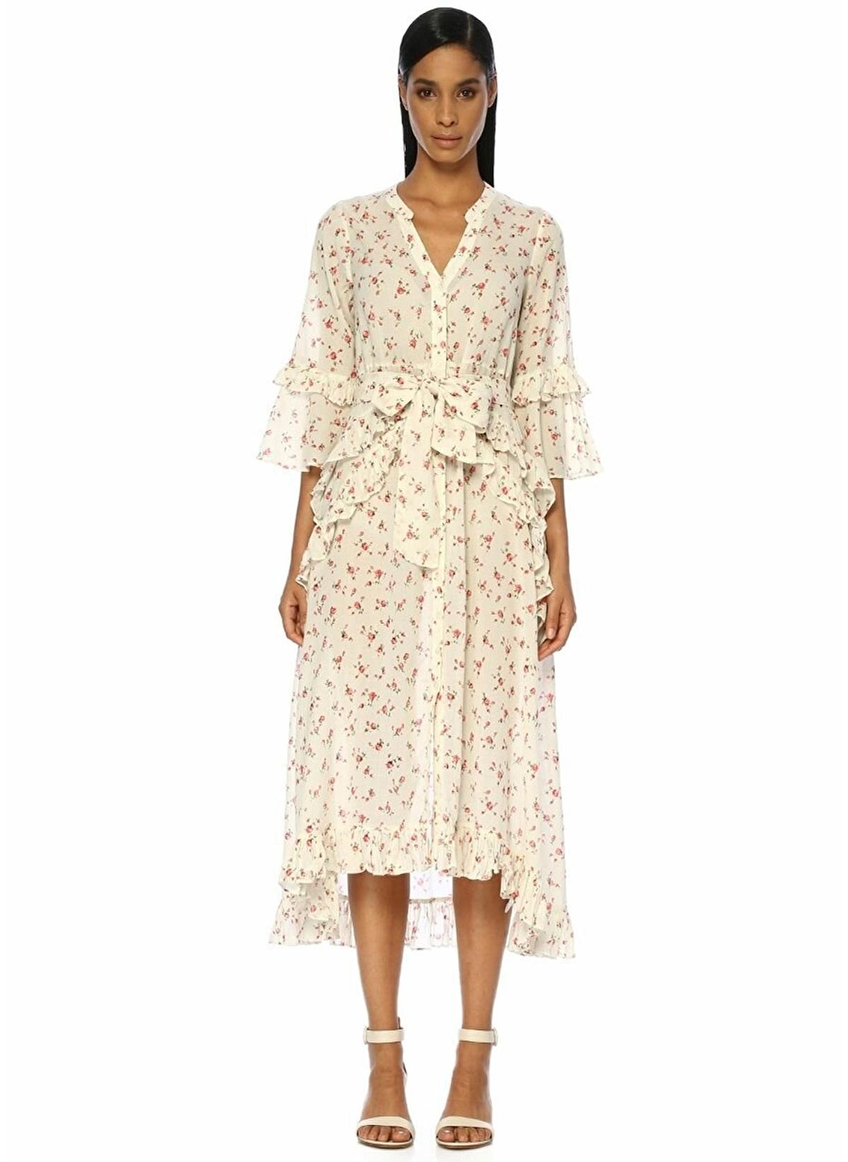 By Timo Çiçek Desenli Fırfırlı Midi Elbise 101262782 K Elbise – 2295.0 TL